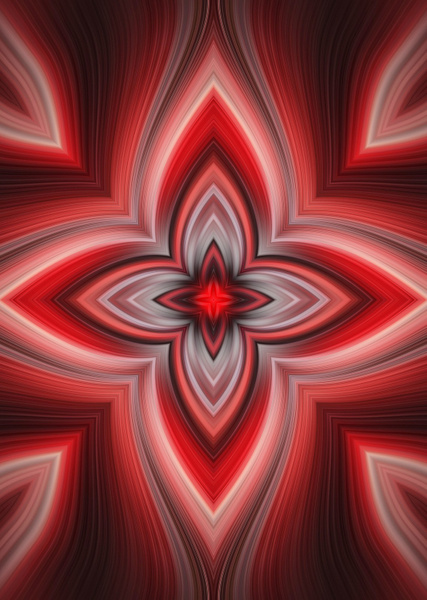No.8-Red-Four-Point-Star-floral-pattern - Fine Art