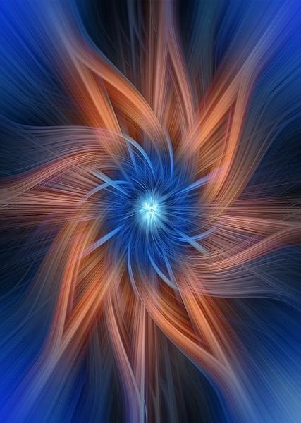 No.20-Blue-Orange-Spiral-Art - Fine Art