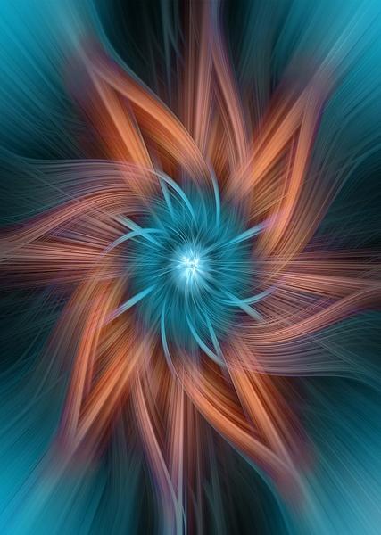 No.19-Teal-Orange-Spiral-Art - Fine Art