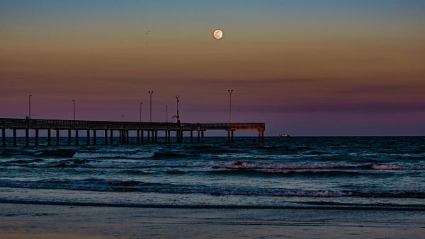 Moonrise at Port Aransas pier - Landscapes - Blackburn Images Photography