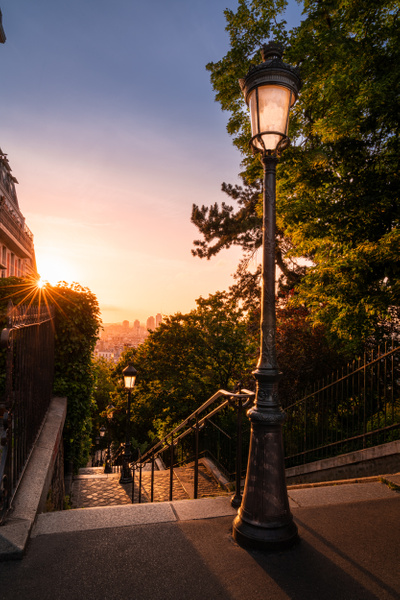 Paris-Montmartre Stairs-sunrise - Cityscapes - Thomas Speck Photography