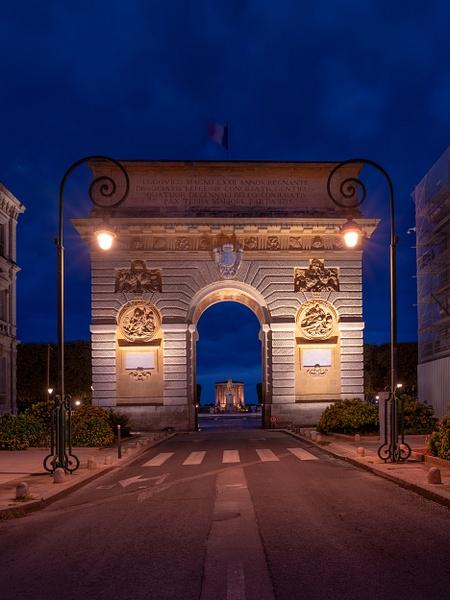 Montpellier-Arc de Triomphe-Blue Hour-France - Paris Cityscape France Eiffel Tower Pont Alexandre 3 Pont des Arts