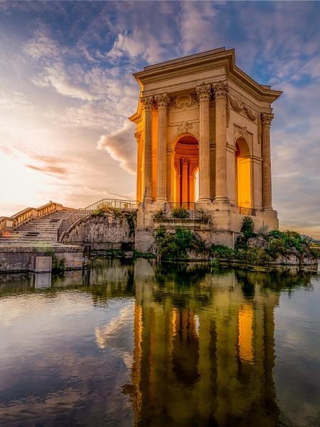Montpellier-Château d'eau-Sunset-France-Bassin principal du Peyrou-France - Paris Cityscape France Eiffel Tower Pont Alexandre 3 Pont des Arts