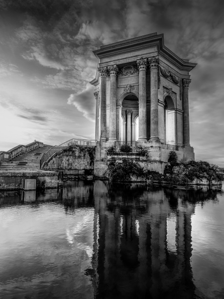 Montpellier-Château d'eau-Sunset-France-Bassin principal du Peyrou-France - Black White - Thomas Speck Photography