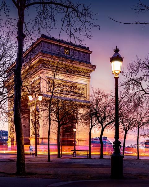 Paris-Arc de Triomphe-Sunset-NIght - Landscapes - Thomas Speck Photography