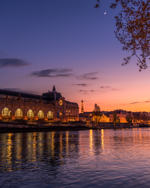 Orsay Museum-Sunset-Seine River-Eiffel Tower-Moon - Landscapes - Thomas Speck Photography
