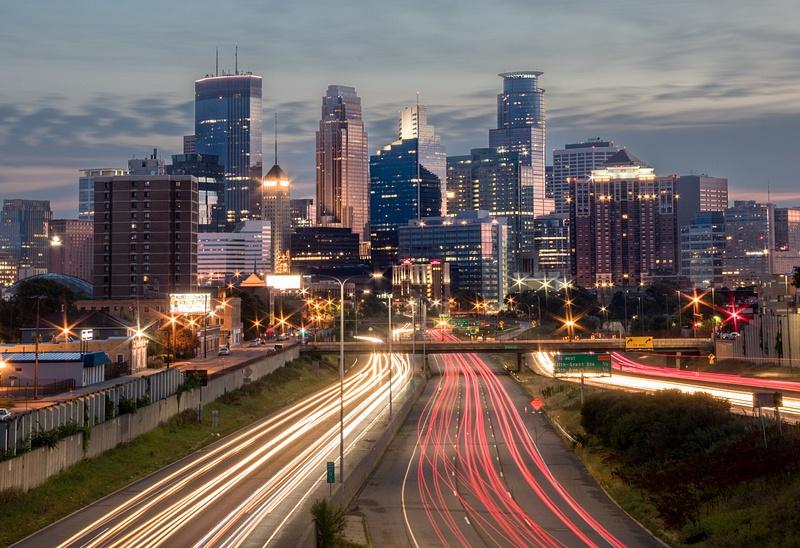 Car Trails Downtown Minneapolis