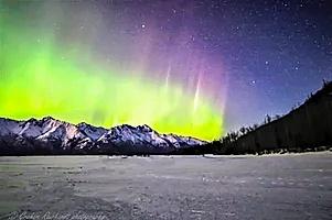 Northern Lights Knik River Valley  Anchorage Alaska canvas print A3 size $75 - Shops - Graham Reichardt Photography