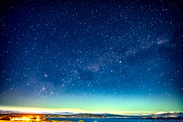 night shot from 5 mile Bay Taupo south to mountains shows small Aurora A4  canvas print $55 - Shops - Graham Reichardt Photography