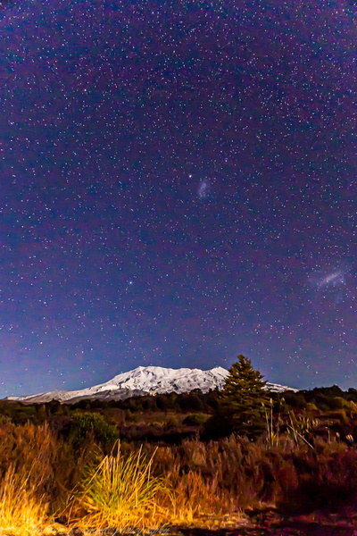 Mt Ruapehu taken Chateau access rd Tongariro national Park with night sky background - Night Sky - Graham Reichardt Photography