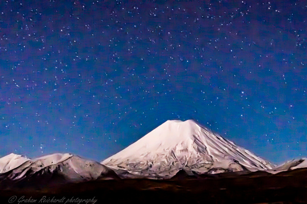 Mt Ngauruhoe from Chateau access rd Tongariro National park wit night sky background - Night Sky - Graham Reichardt Photography