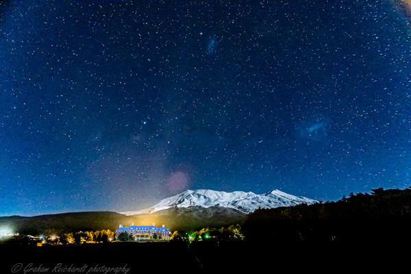Mt Ruapehu with Chateau  superimposed onto night sky - Night Sky - Graham Reichardt Photography