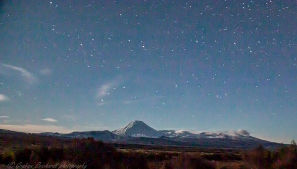 Mt Ngauruhoe from Desert Rd with night sky - Night Sky - Graham Reichardt Photography