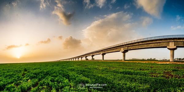 Train Bridge Afula sunset - Industrial photography