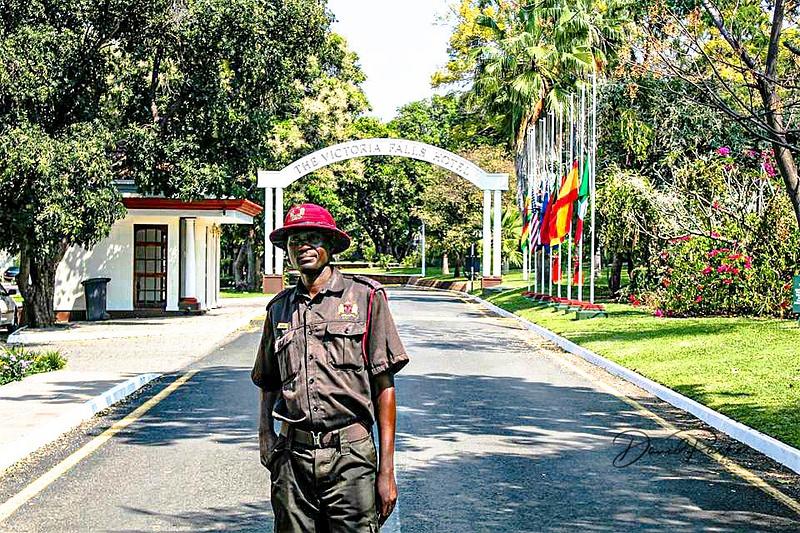 Security Guard,  main entrance, Victoria Falls Hotel