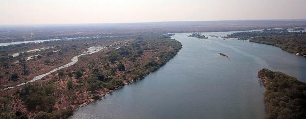 Zambezi River, above the Victoria Falls by...