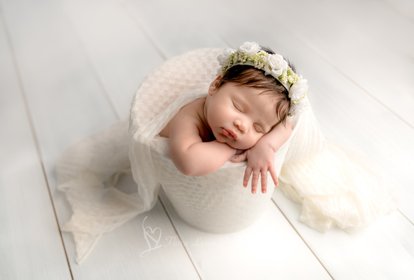 Baby Girl in a Bucket - Newborn - Flora Levin Photography