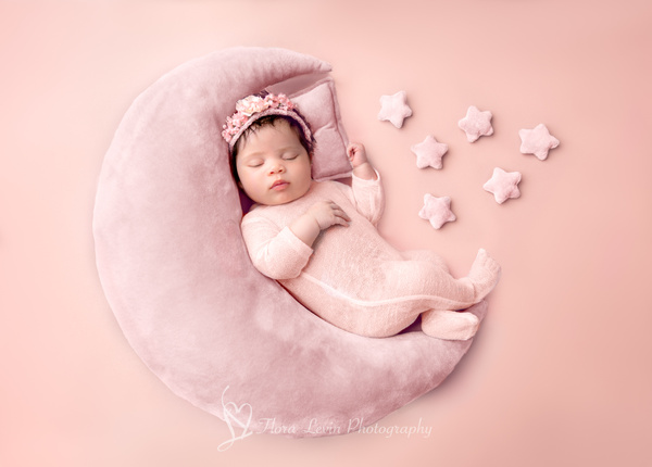 Baby Girl in Pink Moon prop - Newborn - Flora Levin Photography