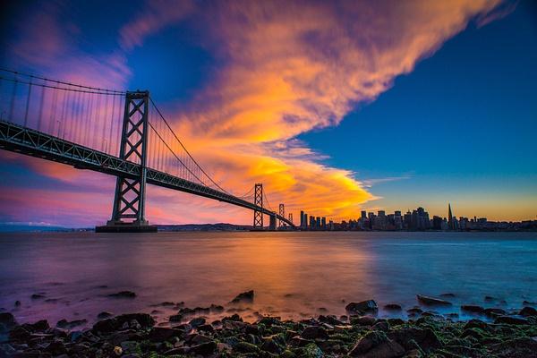 SF_Bay Bridge_Sunset - Sun - Stan Pechner