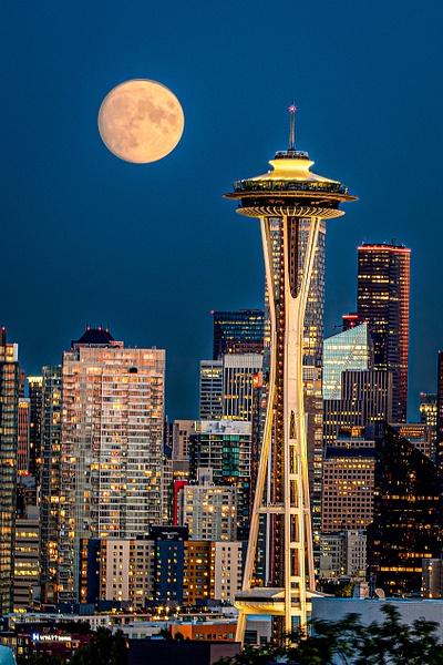 Seattle Moon-1 - Cityscape Photography - John Dukes Photography