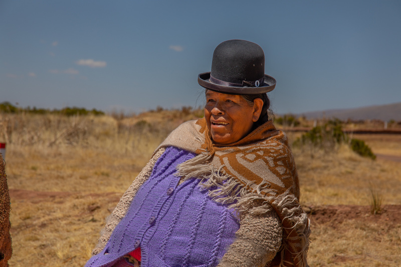Indigenous lady at Inca site