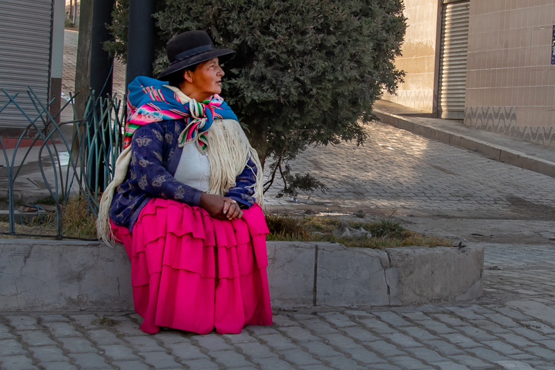 Waiting for a lift, early morning, Copacobana, Lake Titicaca