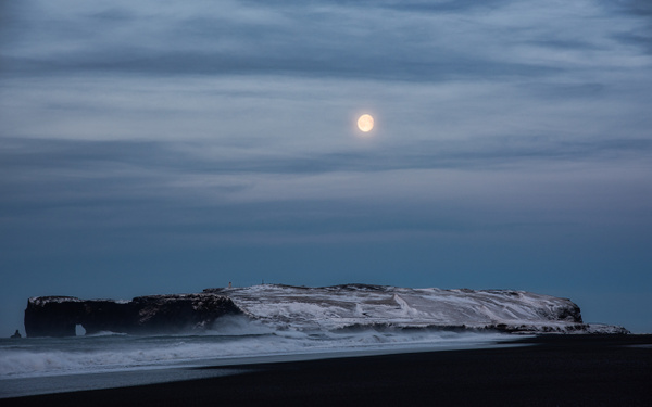 Diamond Beach, Rocky Shore & Moon by Jack Kleinman
