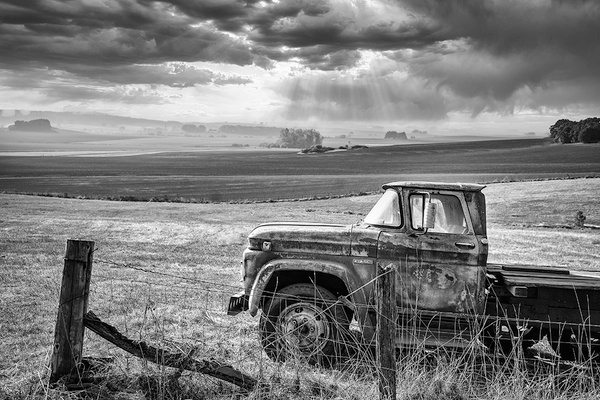 b and w truck in field up - Home - Barry Morris Photography