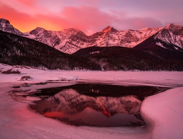 Winter Sunset Upper Kananaskis Lake-Kananaskis, Alberta,...