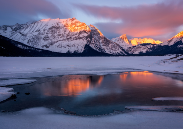 Long Exposure-Upper Kananaskis Lake, Canadian Rockies,...