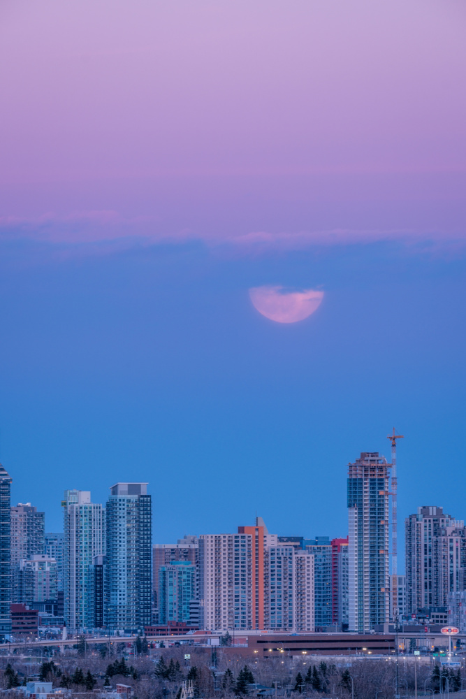 Layers of Colors-Pink Supermoon over Calgary