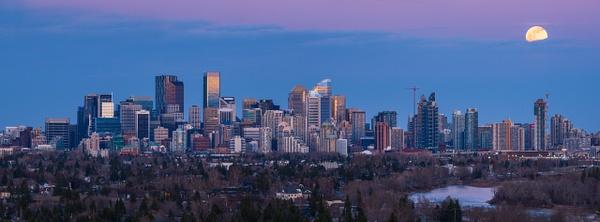 Panoramic Pink Moon Over Calgary, Alberta