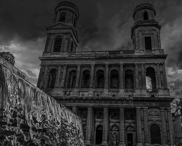 L'Église Saint-Sulpice en noir et blanc - noir-et-blanc