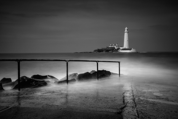 St Mary's Lighthouse, Whitley bay - Monochrome photography