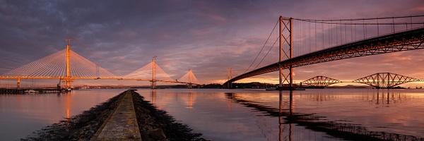 The Three Bridges, Port Edgar - Panoramic landscape photography