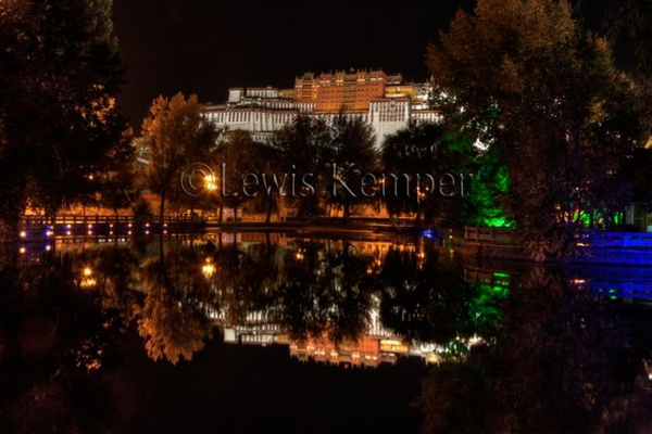 Potala Palace reflection at night by Lewis Kemper