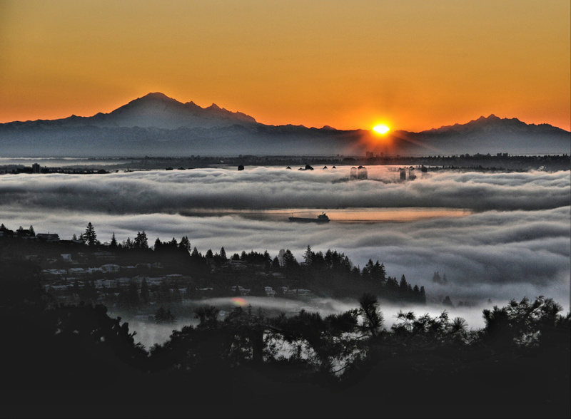 Fog & Sunrise over Vancouver