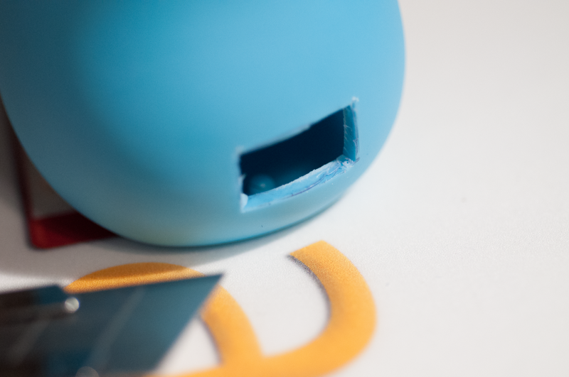 Clean up the hole and test fit the thumb drive.  It's better if the hole is slightly too small.