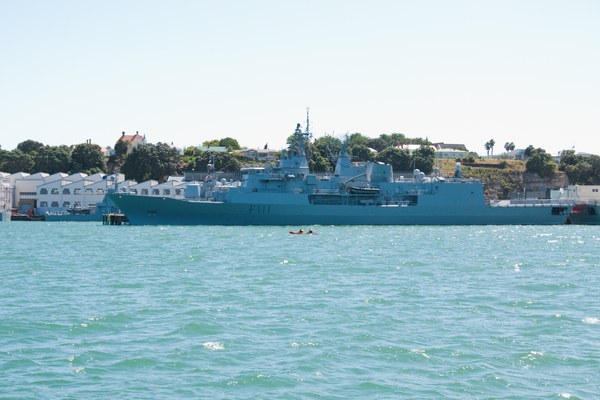 HMNZS Te Mana (F111) in Auckland Harbour by Willis Chung