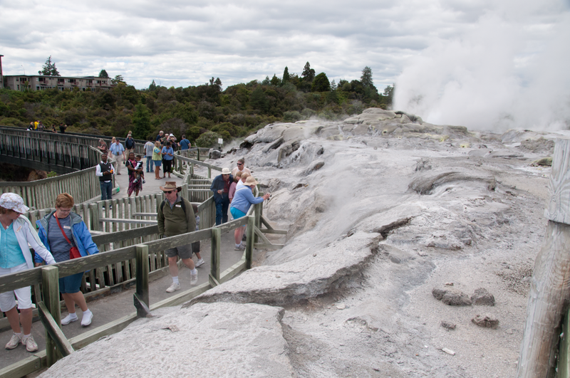 Including the people in the picture makes the Rotorura Hot Springs look more interesting