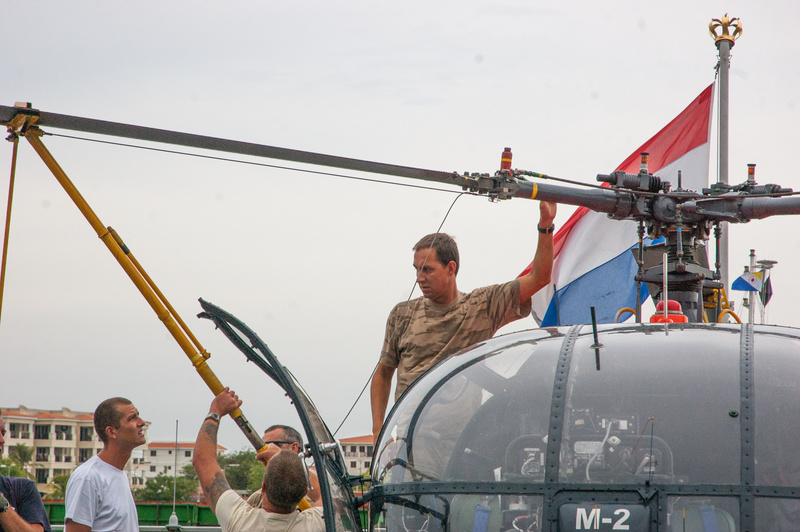 Team effort getting the chopper set up