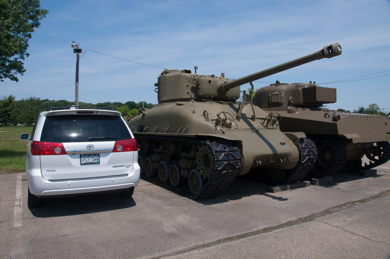 Parked near the Aberdeen Proving Grounds outdoor exhibits.  Two freshly restored Sherman tanks