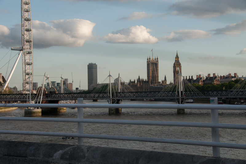 In a taxi, Big Ben, Parliament, the Eye