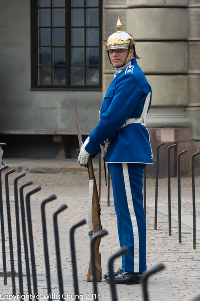 This guard had a tough job trying to keep the parade...