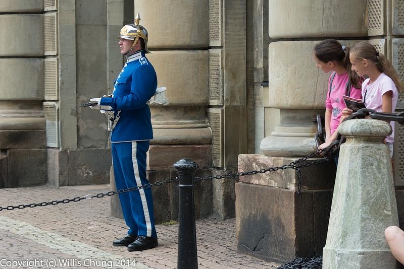 The crowd keeping an eye on a Swedish Royal Guard