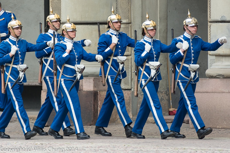 The morning's guards march to the rear of the square
