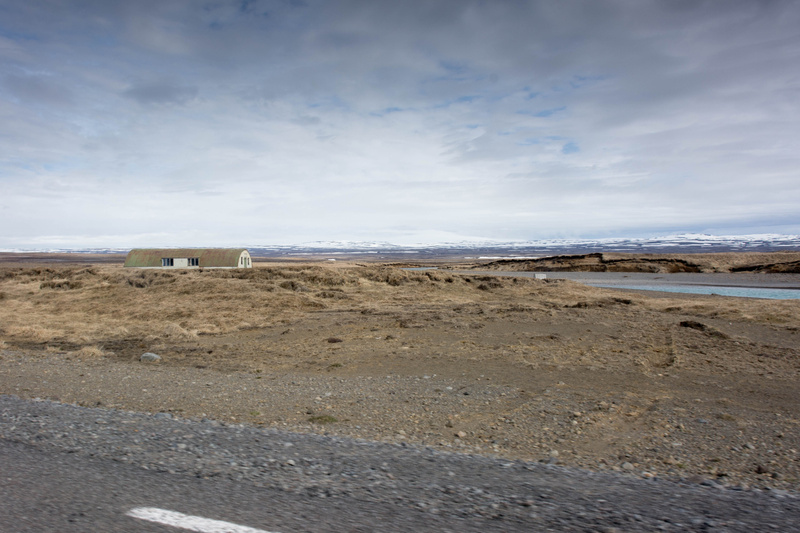 Driving past Gullfoss towards the mountains