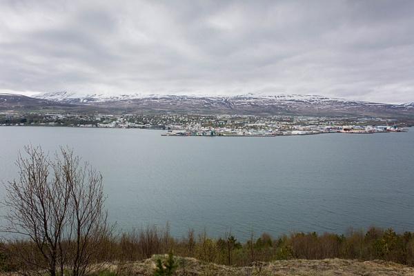 We are now across Eyjafjörður from Akureyri, and can...