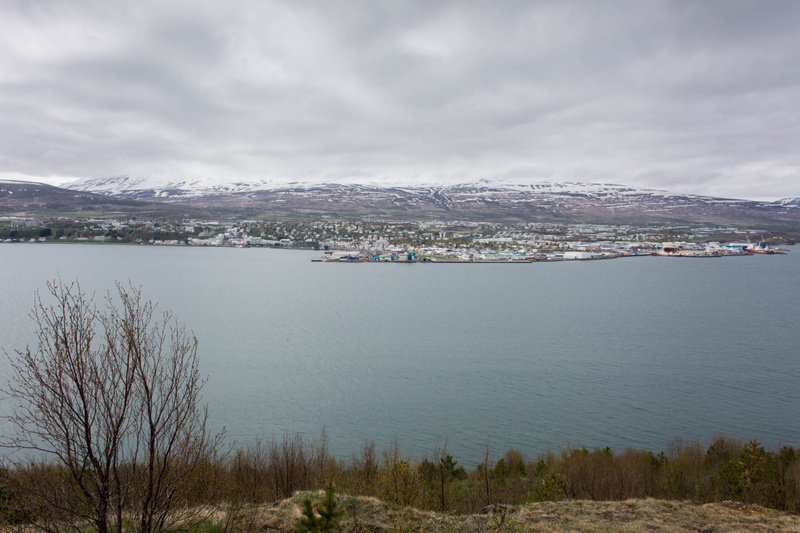 We are now across Eyjafjörður from Akureyri, and can see the city laid out before us.