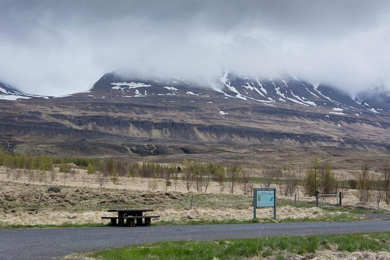 We are just south of the village of Varmahlíð. The sign describes the Battle of Örlygsstaðir.